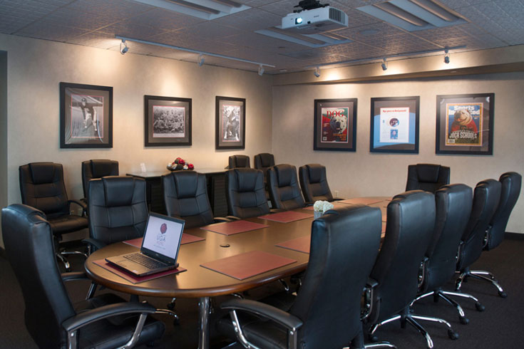 UGA's Sanford Boardroom features UGA Athletic memorabilia