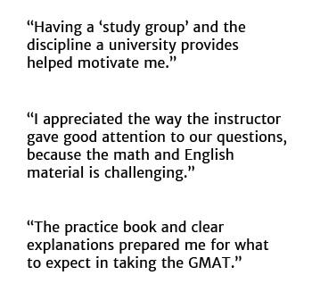 GMAT Test Prep Classes Student Comments