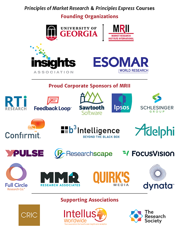 Principles of Market Research sponsors