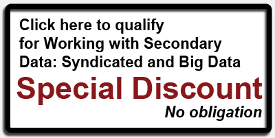 Click here to qualify for Working with Secondary Data: Syndicated and Big Data Special Discount