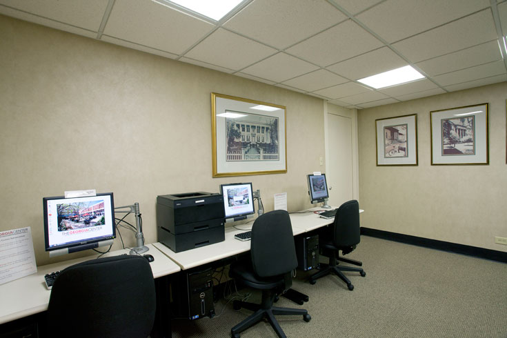 The UGA Hotel provides self-service workstations with computers and printers