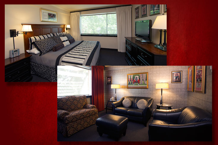 UGA's Uga Suite is custom decorated in UGA colors with Uga memorabilia